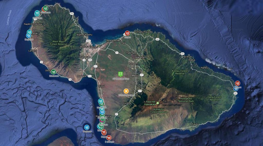 Maui's best snorkling beaches map