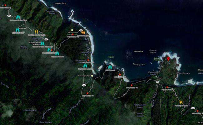 Road to Hana Guide Maui with maps directions mile markers and – Maui Tourist Attractions Map